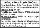 Tp. Hồ Chí Minh: Thông Báo Mất Sổ Cổ Đông CAT16_295