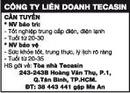 Tp. Hồ Chí Minh: Công Ty Liên Doanh Tecasin Cần Tuyển CL1002976