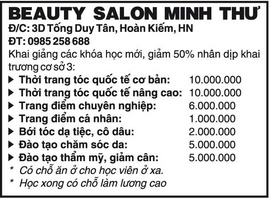 Beauty Salon Minh Thư Khai giảng các khóa học mới, giảm 50% nhân dịp khai trương