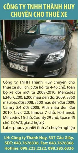 Công ty TNHH THÀNH HUY chuyên cho thuê xe