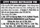 Tp. Hồ Chí Minh: CTY TNHH BETAGEN VN Cần tuyển NV toàn thời gian : bán hàng trực tiếp sữa uống CL1016092