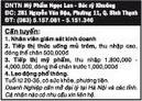 Tp. Hồ Chí Minh: DNTN Mỹ Phẩm Ngọc Lan - Bác sỹ Khuông Cần tuyển: CL1016290