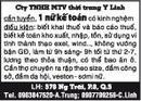 Tp. Hồ Chí Minh: Cty TNHH MTV thời trang Y Linh, cần tuyển, 1 nữ kế toán có kinh nghệm, điều kiện CL1018022P4