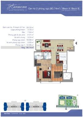 cần bán căn hộ the harmona 76m2 80m2, 33 trương công định