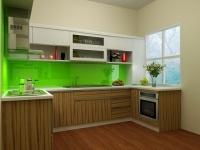 Tu bep cao cap, tủ bếp gỗ tự nhiên, gỗ sồi nga, gỗ thông lào. Thiết kế 3D miễn ph