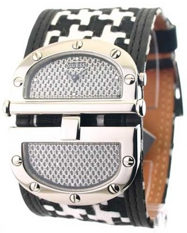 Đồng hồ Nữ GUESS Women's W11510L2 Black Houndstooth Split Dial Watch