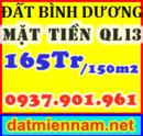 Tp. Hồ Chí Minh: Đất Bình Dương sổ đỏ 165tr/ 150m2 khu đông dân cư, mặt tiền Ql13, chiết khấu tiền CL1152996