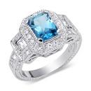 Tp. Hồ Chí Minh: Nhẫn Classic Beauty 1. 50 carats total weight Radiant Cut London Blue Topaz CL1165257