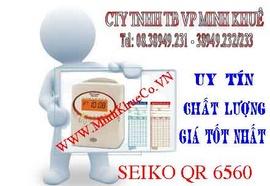 máy chấm công thẻ giấy seico QR 6560 khuyến mãi kệ và thẻ
