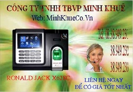 có Máy chấm công Vân Tay ronald jack 628 màn hình màu có Pin Lưu Điện 0945818