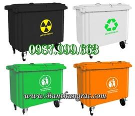 Thùng rác nhựa công nghiệp - thùng rác 660 lít