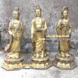 tượng phật tam thánh, tượng phật bằng đồng, bán tượng đồng, tượng đồng, tượng
