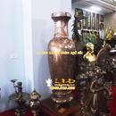 Tp. Hà Nội: Lọ hoa đồng khảm tam khí, cao 70cm, Lọ Hoa tam khí, Lọ hoa khảm bạc CL1127858