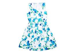 Đầm Hoa Xanh Nền Trắng W2956