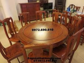 Bộ bàn ăn đẹp bàn tròn đồ gỗ đồng kỵ BA40