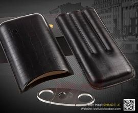 Set bao da cigar, dao cắt cigar Cohiba 307B màu đen