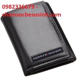 Bóp da Tommy hilfiger men of leather cambridge trifold wallet – black – km giảm