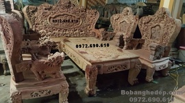 Bàn ghế phòng khách đẹp, Bộ Bát mã gỗ hương đá B159