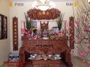 Bắc Ninh: Bàn thờ gỗ gụ đục tứ linh chân nghê ST80 CL1651812