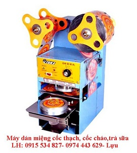 Máy dán miệng cốc ET-D6, máy dán miệng cốc trà sữa, máy dán miệng cốc nước mía