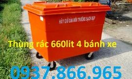 thùng rác nhựa 660lit, xe gom rác 500lit, thùng rác bánh xe 60lit, thùng rác 90lit