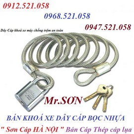 Dây khoá xe máy cáp bọc nhựa Hà Nội bán rẻ 0947.521.058 Mr.SƠN