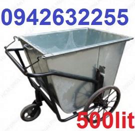 xe gom rác giá rẻ, xe rác đẩy tay, xe cải tiến, xe rác kéo tay, xe gom rác 500l