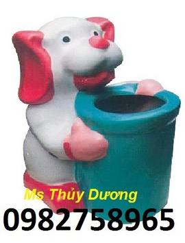 thùng rác con thú, thùng rác hình thú, thùng rác con voi, thùng rác hình cá heo,
