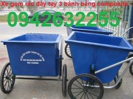 xe gom rác giá rẻ, xe cải tiến, xe gom rác đẩy tay 500l, xe gọm rác 660lit, xe day r