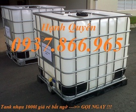 tank nhựa ibc 1000l, thùng nhựa màu trắng 1000lit, téc nhựa 1 khoi