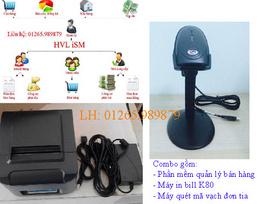 Phần mềm quản lý, máy in bill, máy quét mã vạch - combo giá tốt quận Ninh Kiều