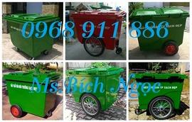 Xe thu gom rác, xe rác công nghiệp nhựa composite giá rẻ, thùng rác gia đình