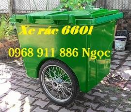 Xe đẩy rác , xe rác 660l, xe rác 1000l 3 bánh lớn, xe gom rác giá rẻ