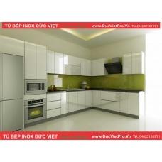 Muốn tủ bếp vừa đẹp vừa bền, xem ngay tủ bếp inox đức việt cánh acrylic cốt mdf