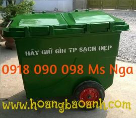 bán xe đẩy rác công nghiệp 660 lít, xe chứa rác 3 bánh xe , xe đựng rác 660 lít