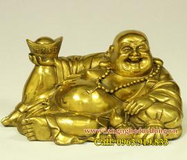 Tượng Phật Di Lặc, mẫu tượng dilac tựa bao bố dâng tiền cao 13cmx22cm, tượng đồn
