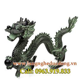 Tượng rồng giả cổ 39cm, rồng phong thủy cầm ngọc, rồng vờn ngọc, tượng rồng giả