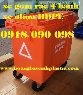 xe đẩy rác bằng composite, xe rác 660 lít, xe rác công cộng, xe rác công nghiệp