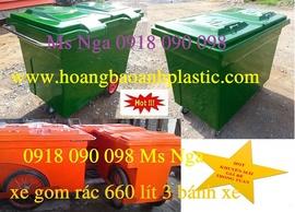 chuyên bán xe rác, xe rác composite 660 lít, xe rác 1000 lít, xe rác 3 bánh xe 6
