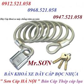 Bán khoá xe máy dây cáp thép bọc nhựa 0947.521.058 Sơn Cáp HÀ NỘI bán