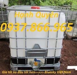 thùng nhựa màu trắng 1khoi, téc nhựa 1000lit, tank nhựa cũ 1000lit