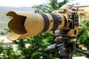 Bộ máy ảnh ống kính Nikon sơn màu vàng quân đội ấn tượng NEWS15504